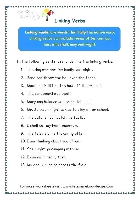 Linking Verb Worksheets Middle School – Katyphotoart Com
