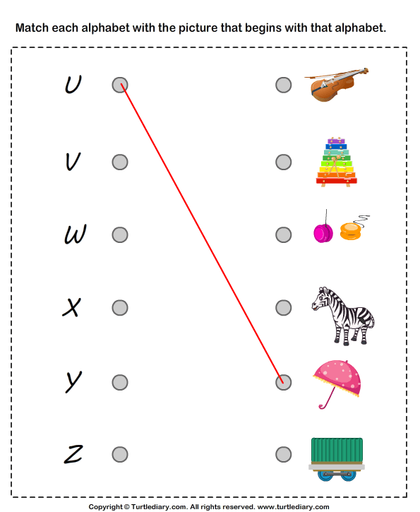 Matching Letters To Pictures U To Z Worksheet