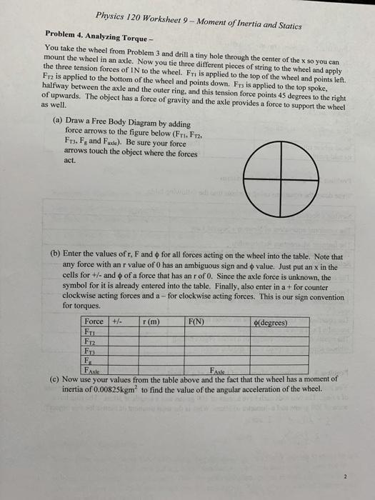 Solved  Physics 120 Worksheet 9
