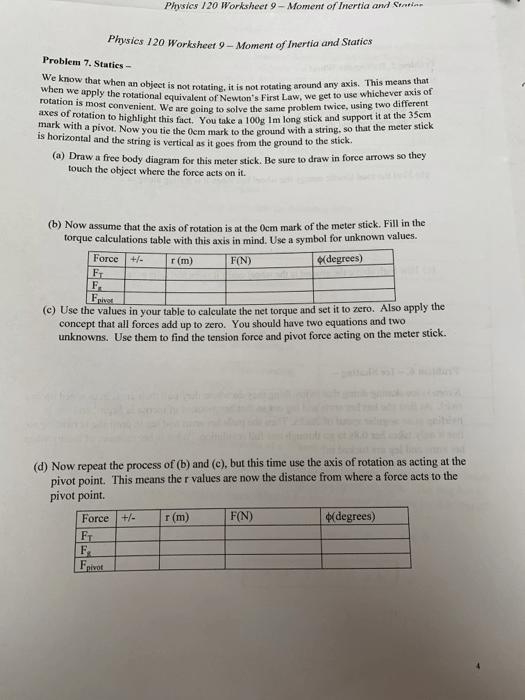 Physics 120 Worksheet 9