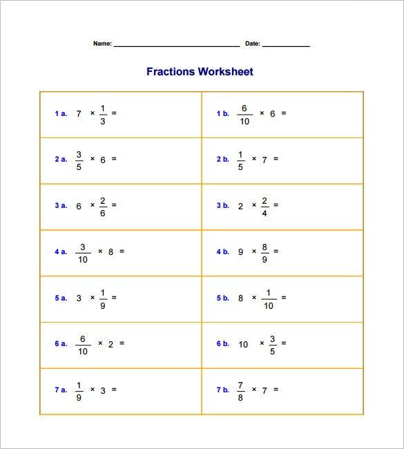 10+ Multiplying Fractions Worksheet Templates