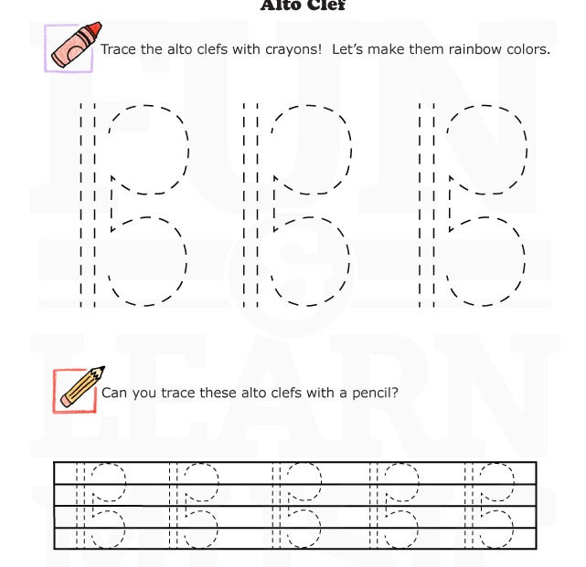 Fun And Learn Music » Music Worksheets – Alto Clef