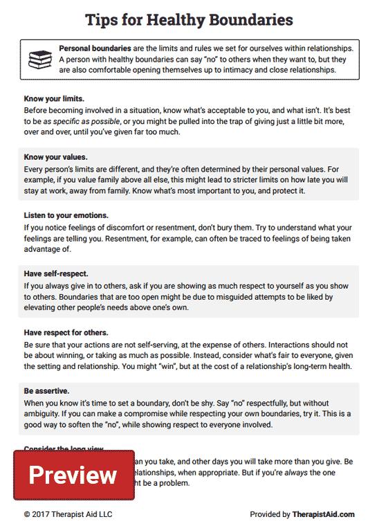 Healthy Boundaries Tips (worksheet)