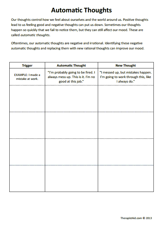 Automatic Thoughts (worksheet)