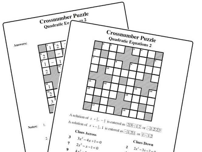 Crossnumber Puzzle  Quadratic Equation 2 By Mistercorzi1