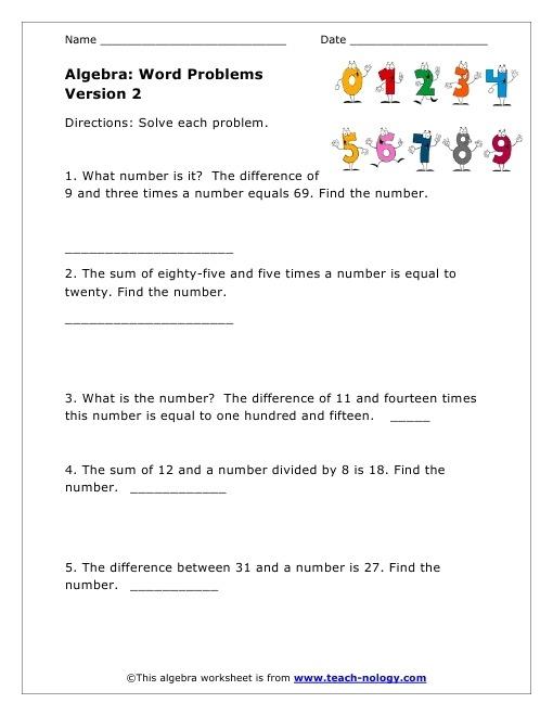 Basic Algebra Word Problems Worksheet