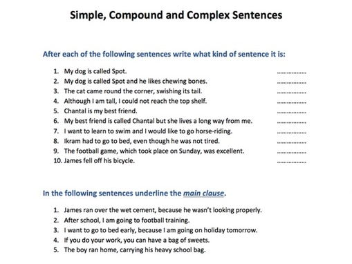 Simple, Compound And Complex Sentences By Skillsmastery