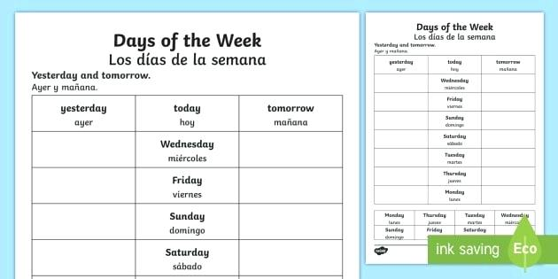Spanish Days Of The Week Worksheet Days Of The Week Worksheet The