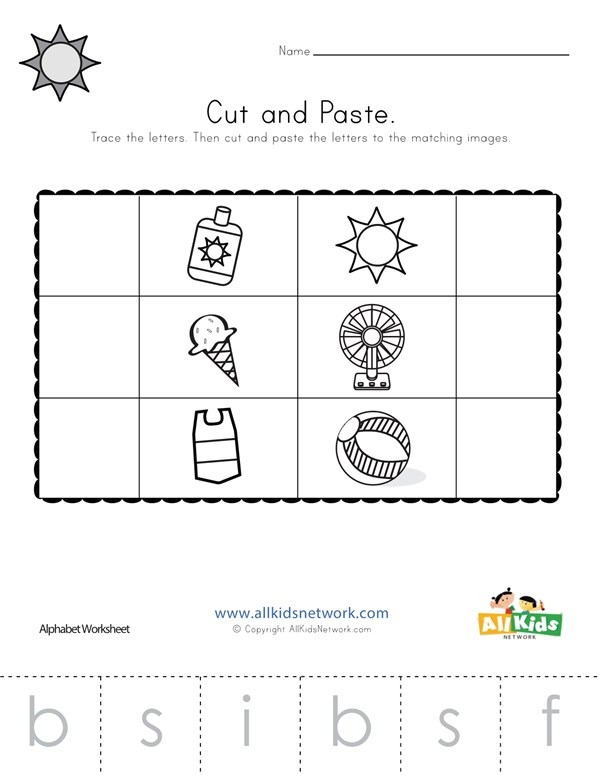 Summer Beginning Sounds Cut And Paste Worksheet