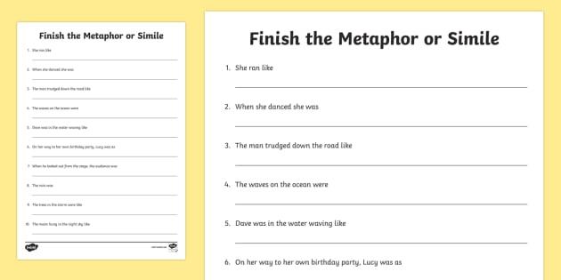 Finish The Metaphor Or Simile Worksheet   Worksheet