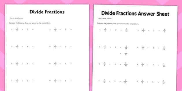 Year 6 Divide Fractions Worksheet   Worksheet