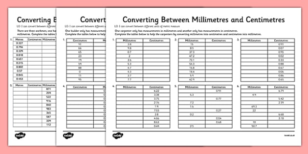 Converting Between Centimetres And Metres And Millimetres Worksheet