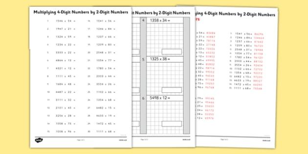 Multiplying 4 Digit Numbers By 2 Digit Numbers Worksheet
