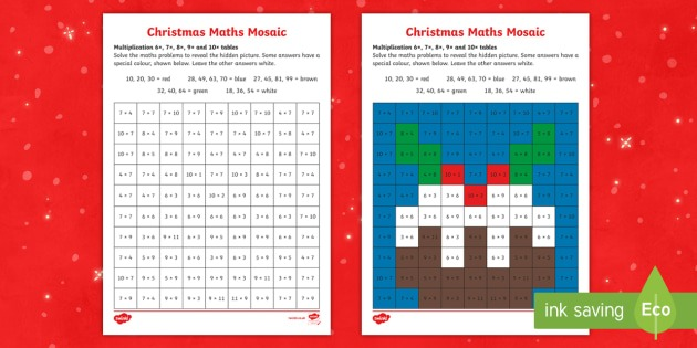 6, 7, 8 And 9 Times Tables Christmas Multiplication Mosaic Worksheet
