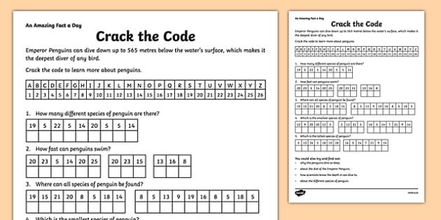 Crack The Code Penguin Worksheet