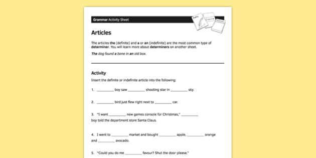 Ks3 English Curriculum Worksheet   Activity Sheet Articles