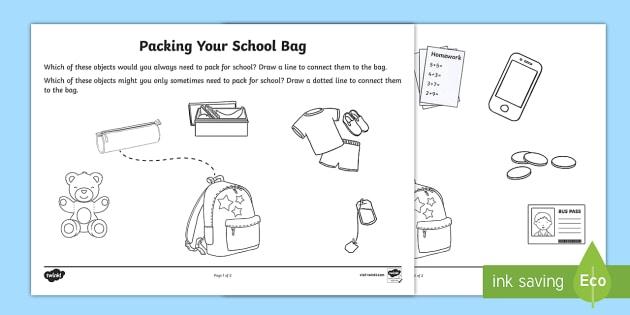 Packing Your School Bag Worksheet   Worksheet