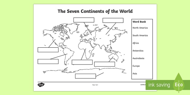 The Seven Continents Labelling Worksheet   Worksheet