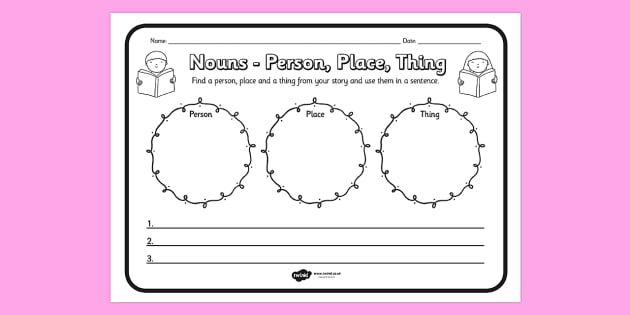 Nouns Person Place Thing Comprehension Worksheet