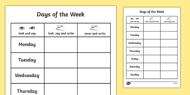 Days Of The Week Practice Writing Worksheet