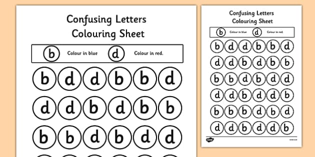 Confusing Letters Colouring Worksheets B And D