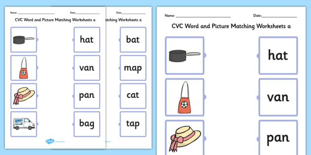 Cvc Word And Picture Matching Worksheets A