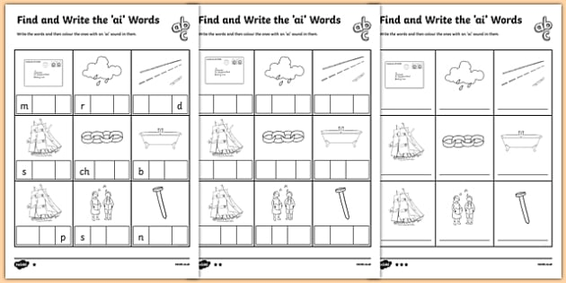 Ai Words Phonics Differentiated Worksheet Pack