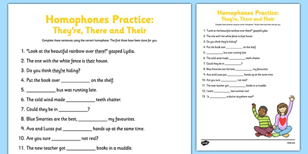 Homophones Practice Worksheet They're There Their