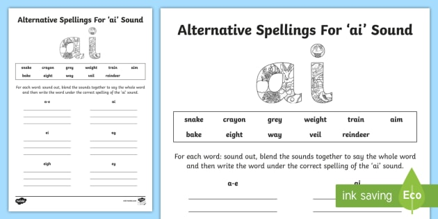 Alternative Spelling For Ai Sound Worksheet   Worksheet