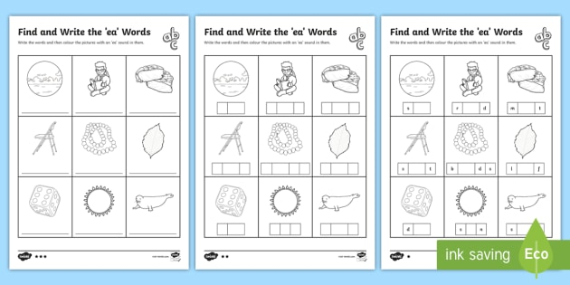 Find And Write The Ea Words Differentiated Worksheets