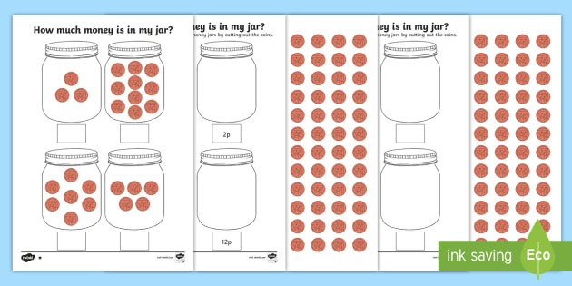 How Much Money Is In My Jar  Counting In 2s Worksheets