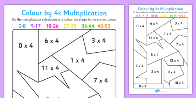Colour By 4s Multiplication Activity Worksheet