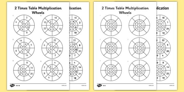 2 Times Table Wheels Worksheet   Worksheet Pack