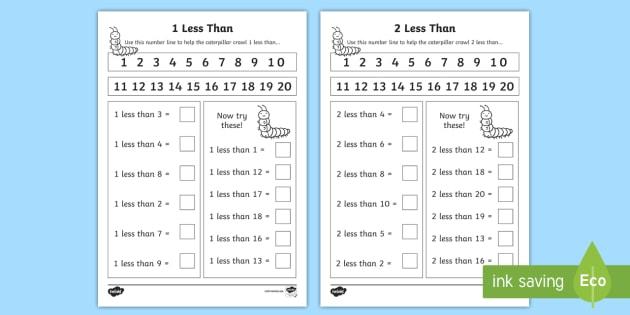 Editable 1 Less Than And 2 Less Than Worksheets
