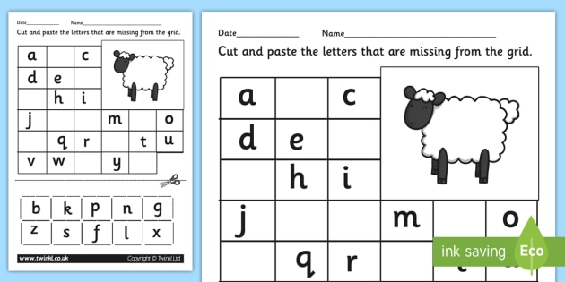 Farm Missing Letters Alphabet Grid Worksheet