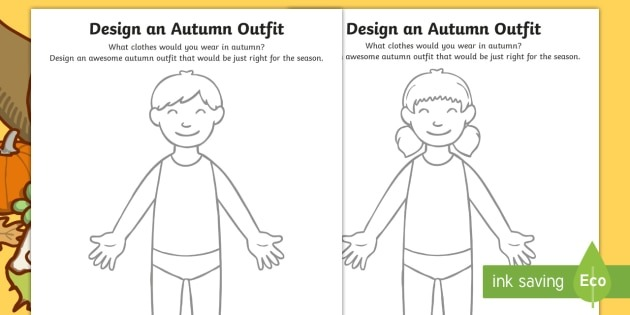 Autumn Clothes Outfit Drawing Worksheet   Worksheet Pack, Worksheet