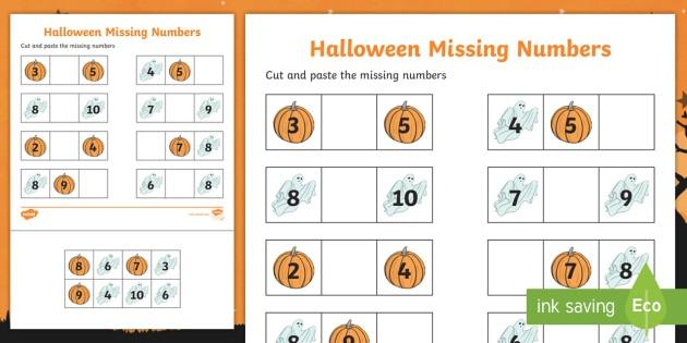 Halloween Themed Missing Number 1 10 Worksheet   Worksheet