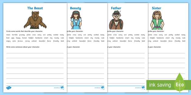 Beauty And The Beast Character Description Worksheet   Worksheets