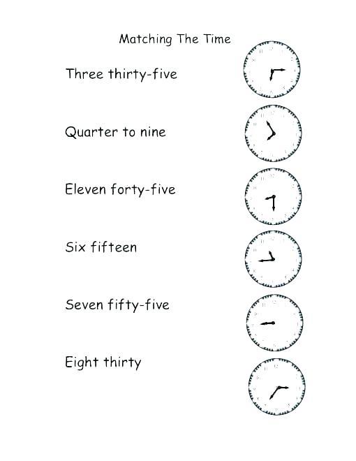 Telling Time Printable Worksheets Free Matching Worksheets Telling