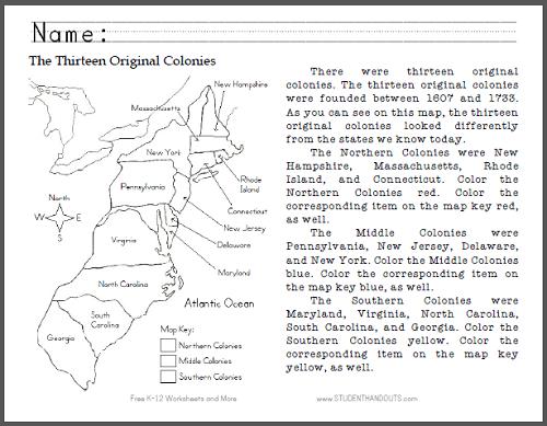 Thirteen Original Colonies Map Worksheet