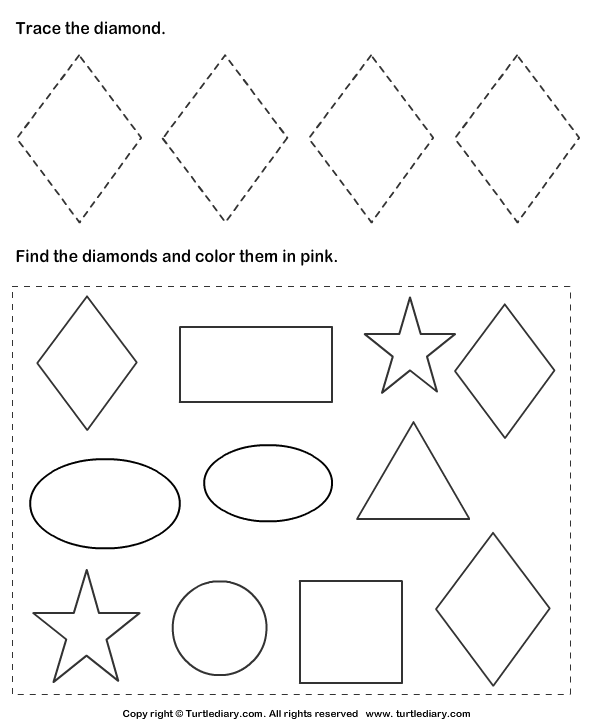 Trace Diamonds And Color Them Worksheet