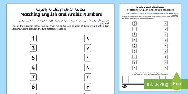 Ey English And Arabic Number Matching Worksheet   Worksheet