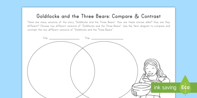Goldilocks And The Three Bears  Compare And Contrast Worksheet