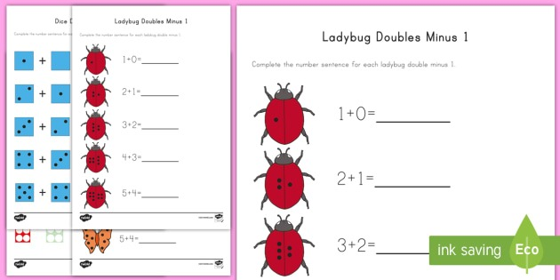Doubles Minus One With Pictures Worksheets