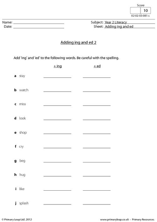 Adding Ing And Ed 2