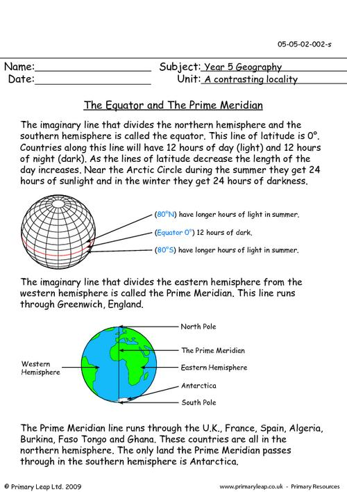 Prime Meridian Worksheet