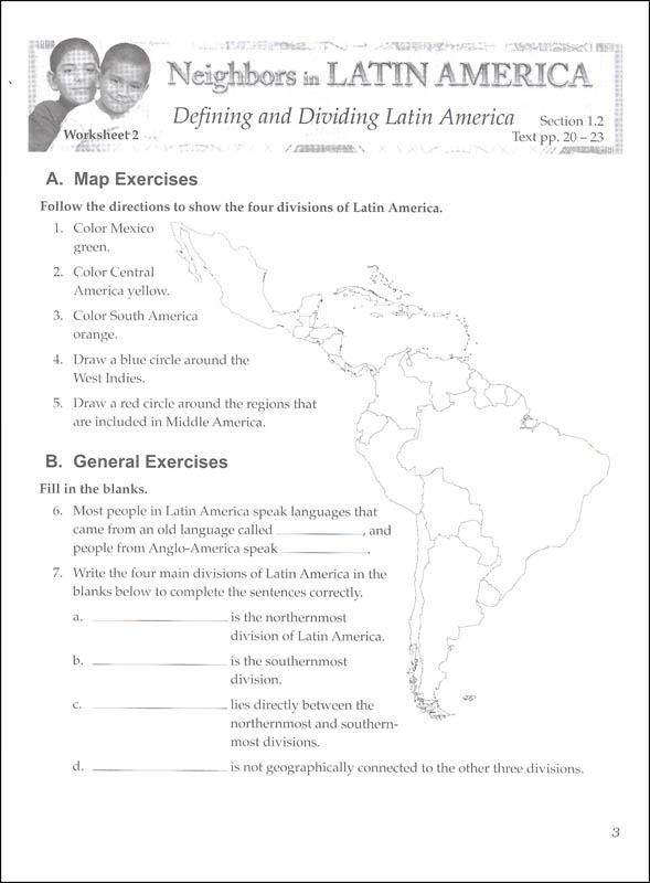 Social Studies 600 Neighbors In Latin America Worksheets 1 (072459