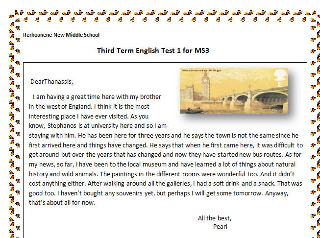 Postcard From England  Reading Worksheet