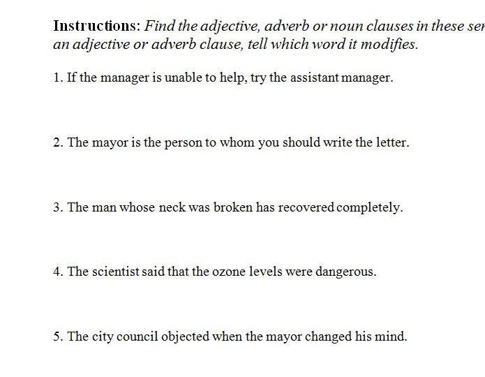 Clauses Worksheet