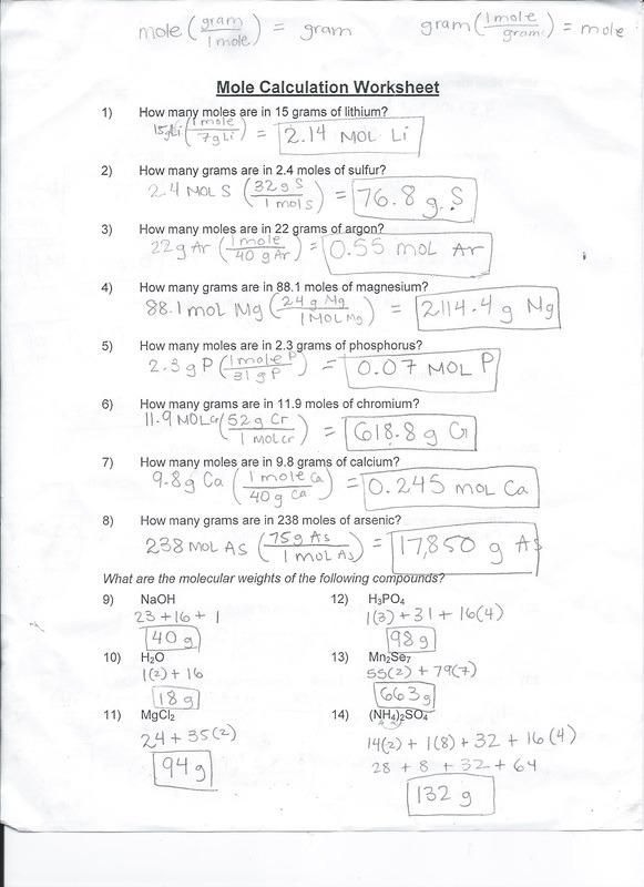 Mole Calculation Worksheet